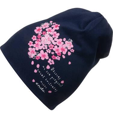 Endo - Czapka wiosenna dla dziecka, z sercem w kwiatki, granatowa D05R013_1 3