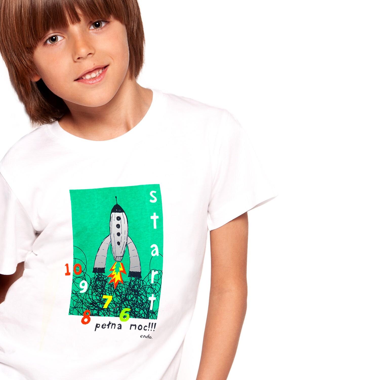 Endo - T-shirt z krótkim rękawem dla chłopca, z rakietą, biały, 2-8 lat C03G110_1