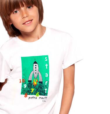 Endo - T-shirt z krótkim rękawem dla chłopca, z rakietą, biały, 2-8 lat C03G110_1 5