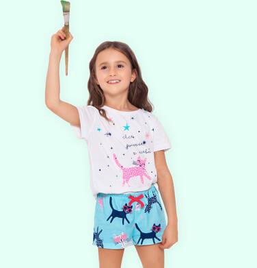 Endo - Piżama z krótkim rękawem dla dziewczynki, z kotem i gwiazdkami, biała, 9-13 lat D05V020_1 221