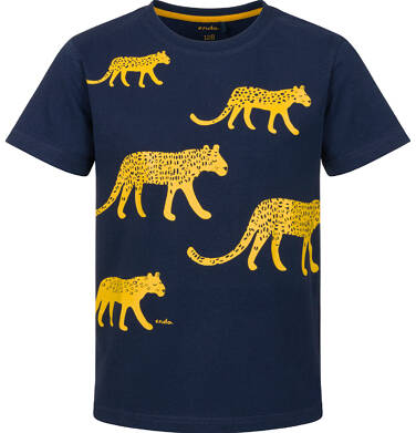 Endo - T-shirt z krótkim rękawem dla chłopca, z lampartami, granatowy, 2-8 lat C03G219_1 35