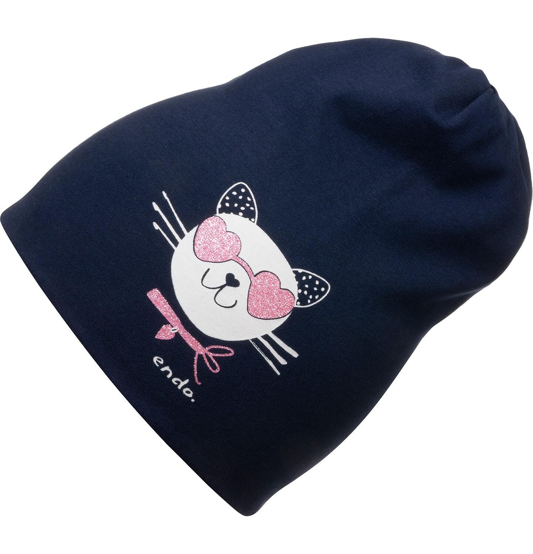 Endo - Czapka wiosenna dla dziecka, z kotem w okularach, granatowa D05R019_1