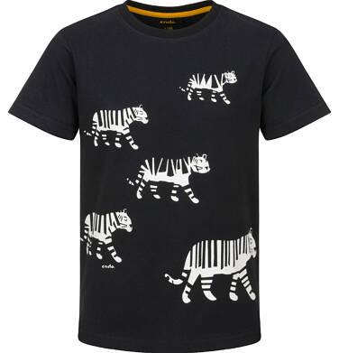 Endo - T-shirt z krótkim rękawem dla chłopca, z tygrysem, czarny, 2-8 lat C03G220_1
