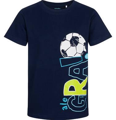 Endo - T-shirt z krótkim rękawem dla chłopca, z piłką nożną, granatowy, 9-13 lat C05G030_1 26
