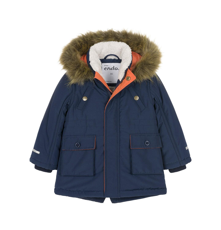 Endo - Zimowa kurtka parka dla małego dziecka, Nawet po zmroku jestem na widoku, ciemnogranatowa, ciepła N92A023_1