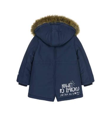 Endo - Zimowa kurtka parka dla małego dziecka, Nawet po zmroku jestem na widoku, ciemnogranatowa, ciepła N92A023_1,2