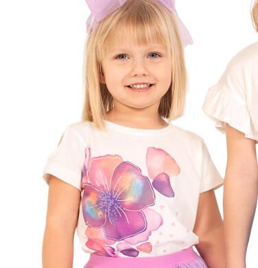 Endo - Bluzka z krótkim rękawem dla dziewczynki, w bratki, porcelanowa, 2-8 lat D03G111_1