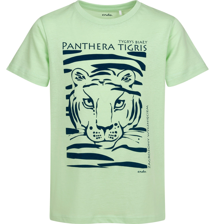 Endo - T-shirt z krótkim rękawem dla chłopca, z tygrysem, zielony, 9-13 lat C05G044_1