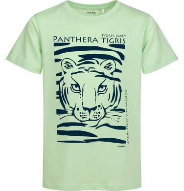 Endo - T-shirt z krótkim rękawem dla chłopca, z tygrysem, zielony, 9-13 lat C05G044_1 24