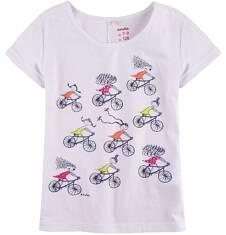 Bluzka z krótkim podwiniętym rękawem dla dziewczynki 9-13 lat D71G627_1