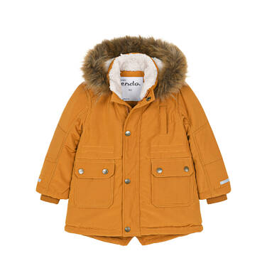 Endo - Zimowa kurtka parka dla małego dziecka, musztardowa, z futrzanym kapturem N92A024_1