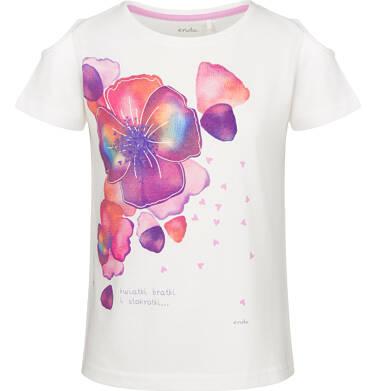 Bluzka z krótkim rękawem dla dziewczynki, w bratki, porcelanowa, 9-13 lat D03G611_1