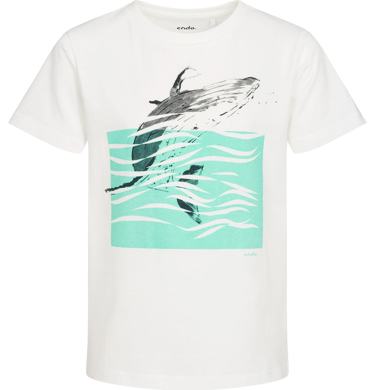 Endo - T-shirt z krótkim rękawem dla chłopca, z wielorybem, biały, 9-13 lat C05G049_1