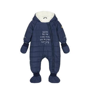 Kombinezon zimowy dla małego dziecka, Jestem misiem, granatowy, z uszkami i ogonkiem N92A005_1