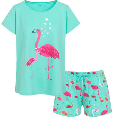Endo - Damska piżama z krótkim rękawem, z flamingiem, turkusowa Y06V004_1 1