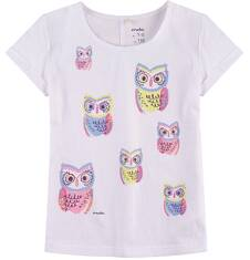 Bluzka z krótkim podwiniętym rękawem dla dziewczynki 9-13 lat D71G612_1