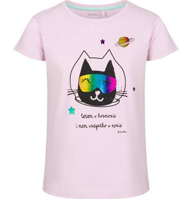 Endo - Bluzka z krótkim rękawem dla dziewczynki, z kotem, różowa, 2-8 lat D03G124_1