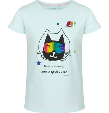 Endo - Bluzka z krótkim rękawem dla dziewczynki, z kotem, niebieska, 2-8 lat D03G124_2 146