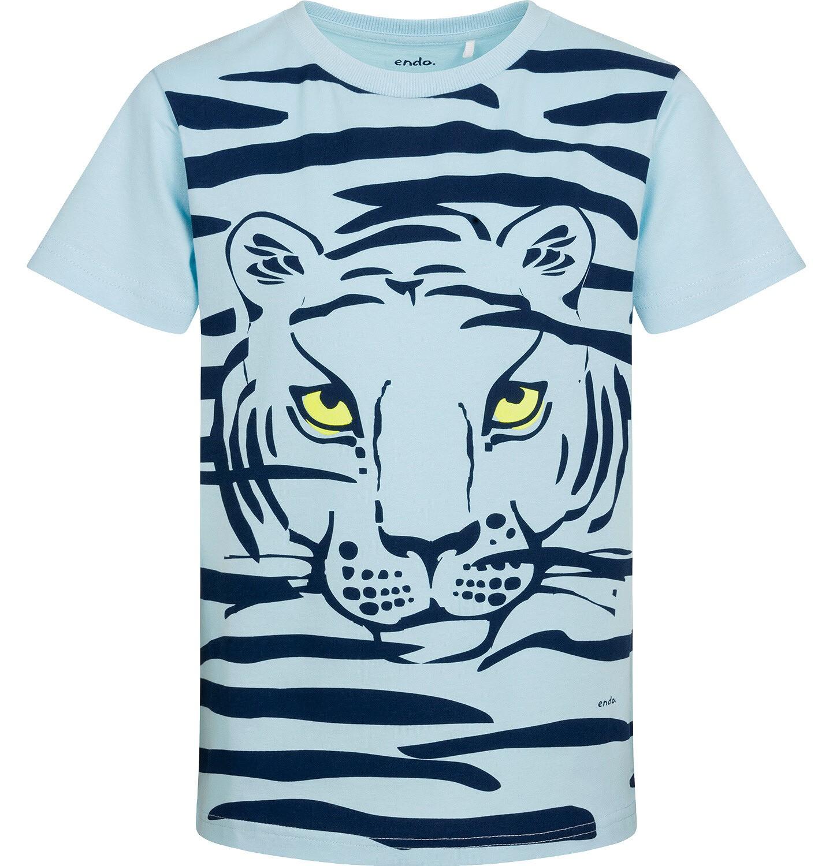 Endo - T-shirt z krótkim rękawem dla chłopca, z tygrysem, niebieski, 9-13 lat C05G066_1
