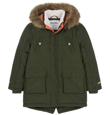 Zimowa kurtka parka dla chłopca 9-13 lat, Nawet po zmroku jestem na widoku, ciemnozielona C92A502_2