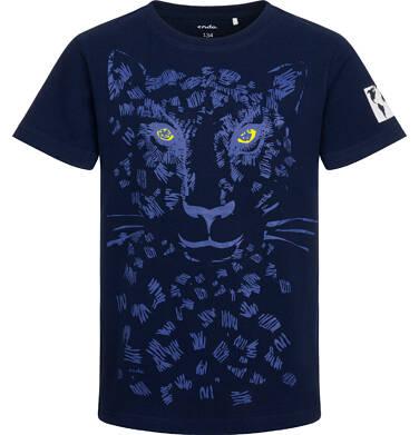 T-shirt z krótkim rękawem dla chłopca, z panterą, granatowy, 9-13 lat C05G067_2