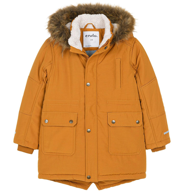 Endo - Zimowa kurtka parka dla chłopca 3-8 lat, musztardowa, z futrzastym kapturem, ciepła C92A004_1