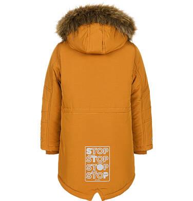 Endo - Zimowa kurtka parka dla chłopca 3-8 lat, musztardowa, z futrzastym kapturem, ciepła C92A004_1,5