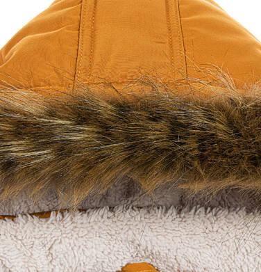 Endo - Zimowa kurtka parka dla chłopca 3-8 lat, musztardowa, z futrzastym kapturem, ciepła C92A004_1,7