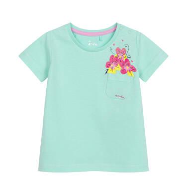 Endo - Bluzka dla dziecka do 2 lat, z kwiatami i kieszonką, miętowa N03G040_2