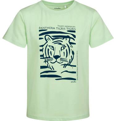 Endo - T-shirt z krótkim rękawem dla chłopca, z tygrysem, zielony, 2-8 lat C05G077_2 10