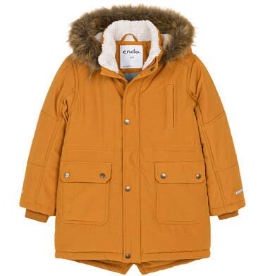Zimowa kurtka parka dla chłopca 9-13 lat, musztardowa, z futrzastym kapturem C92A504_1