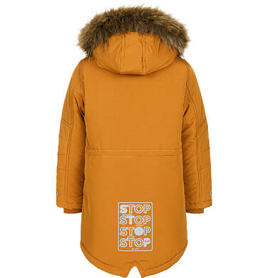 Endo - Zimowa kurtka parka dla chłopca 9-13 lat, musztardowa, z futrzastym kapturem, ciepła C92A504_1,4