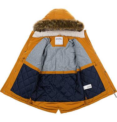 Endo - Zimowa kurtka parka dla chłopca 9-13 lat, musztardowa, z futrzastym kapturem, ciepła C92A504_1,5