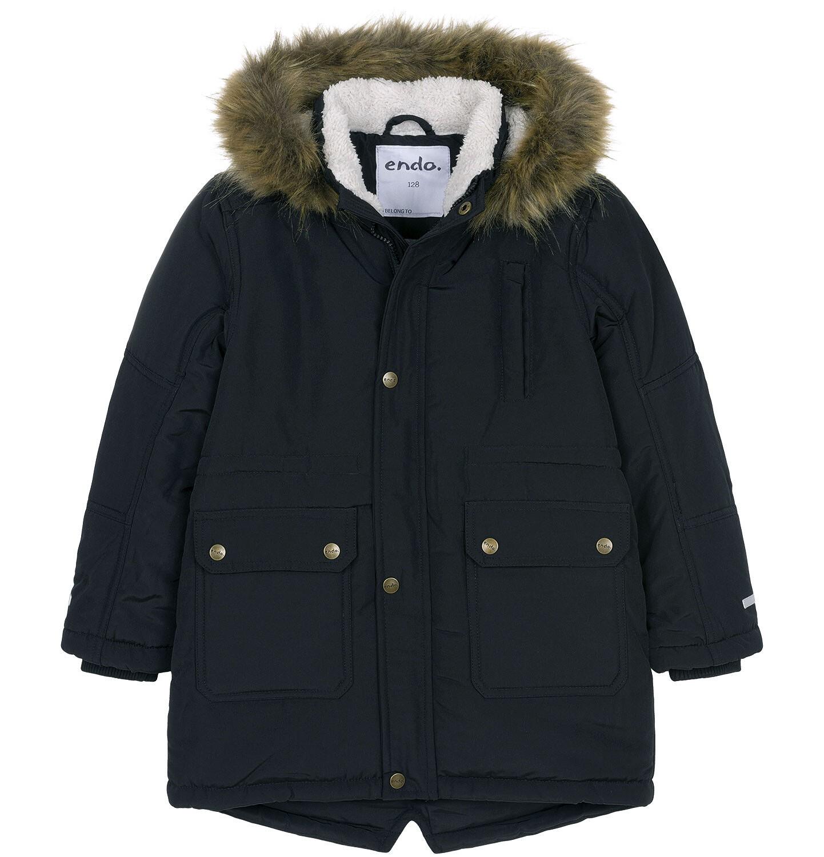 Endo - Zimowa kurtka parka dla chłopca 3-8 lat, Stop, widzisz mnie, grafitowa, ciepła C92A004_2
