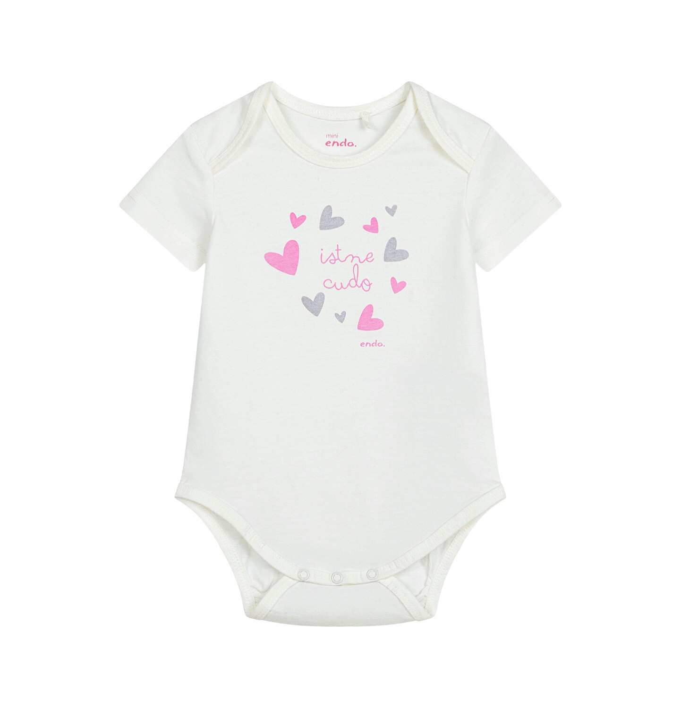 Endo - Body z krótkim rękawem dla dziecka do 2 lat, w serca, białe N03M009_1
