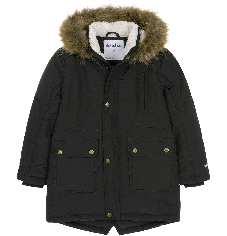 Endo - Zimowa kurtka parka dla chłopca 9-13 lat, Stop, widzisz mnie, czarna, ciepła C92A504_2