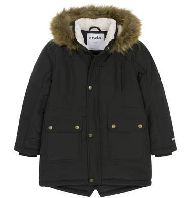 Endo - Zimowa kurtka parka dla chłopca 9-13 lat, Stop, widzisz mnie, czarna, ciepła C92A504_2,1