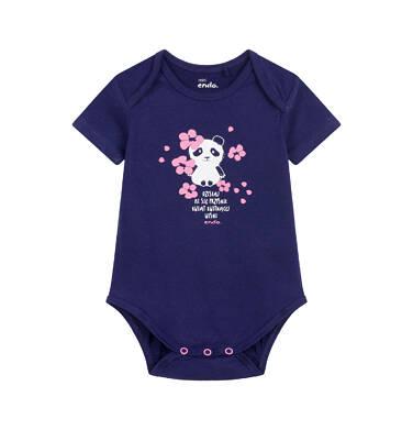 Endo - Body z krótkim rękawem dla dziecka do 2 lat, z pandą, granatowe N03M017_1