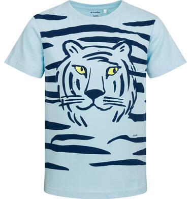 T-shirt z krótkim rękawem dla chłopca, z tygrysem, niebieski, 2-8 lat C05G088_1