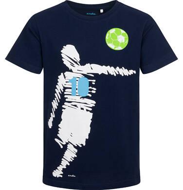 Endo - T-shirt z krótkim rękawem dla chłopca, z piłkarzem, granatowy, 9-13 lat C05G097_2 18