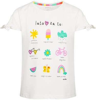 Endo - Bluzka z krótkim rękawem dla dziewczynki, kocham lato, porcelanowa, 9-13 lat D03G525_1