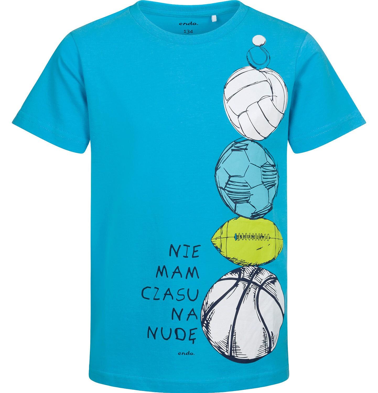 Endo - T-shirt z krótkim rękawem dla chłopca, z piłkami, niebieski, 9-13 lat C05G098_1