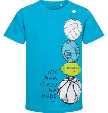 Endo - T-shirt z krótkim rękawem dla chłopca, z piłkami, niebieski, 9-13 lat C05G098_1 17