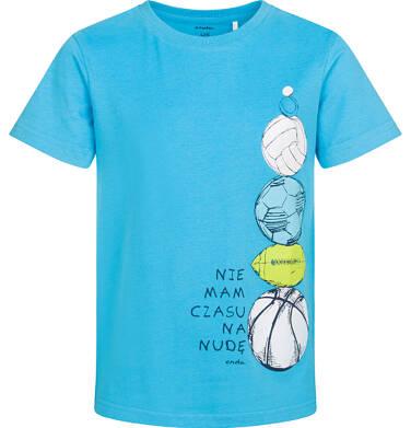 T-shirt z krótkim rękawem dla chłopca, z piłkami, niebieski, 2-8 lat C05G100_1