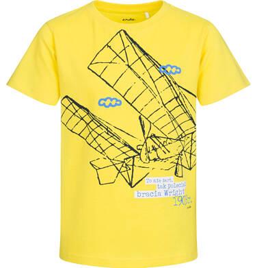 Endo - T-shirt z krótkim rękawem dla chłopca, z samolotem, żółty, 9-13 lat C05G128_1 16