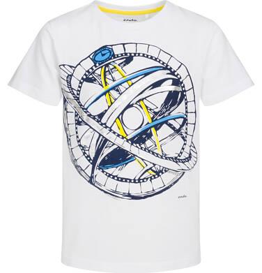 T-shirt z krótkim rękawem dla chłopca, z przyrządem astronomicznym, biały, 9-13 lat C05G131_1