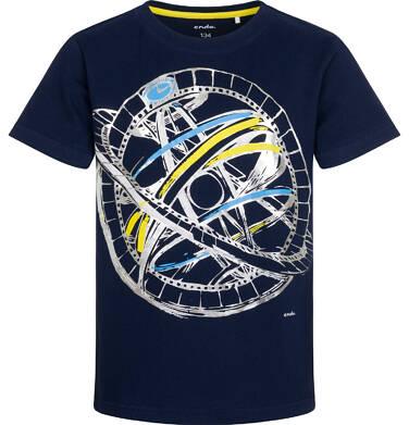 Endo - T-shirt z krótkim rękawem dla chłopca, z przyrządem astronomicznym, granatowy, 9-13 lat C05G131_2 14