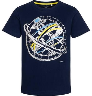 T-shirt z krótkim rękawem dla chłopca, z przyrządem astronomicznym, granatowy, 2-8 lat C05G144_2