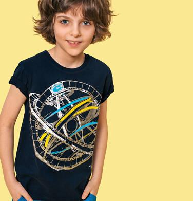 Endo - T-shirt z krótkim rękawem dla chłopca, z przyrządem astronomicznym, granatowy, 2-8 lat C05G144_2 28