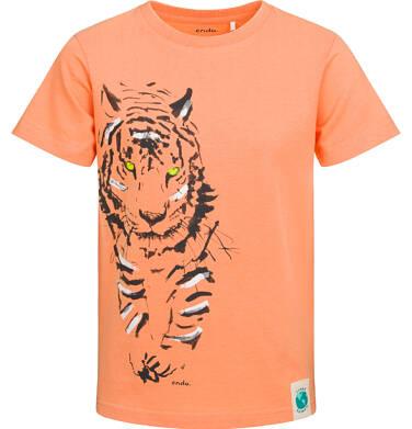 Endo - T-shirt z krótkim rękawem dla chłopca, z tygrysem, pomarańczowy, 2-8 lat C05G146_1 25